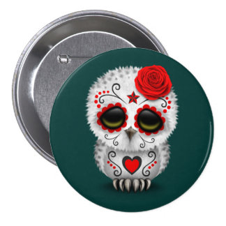 Cute Red Day of the Dead Sugar Skull Owl Teal Buttons