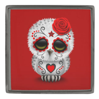 Cute Red Day of the Dead Sugar Skull Owl Lapel Pin