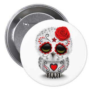 Cute Red Day of the Dead Sugar Skull Owl White Pins