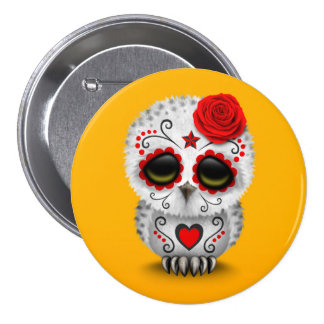 Cute Red Day of the Dead Sugar Skull Owl Yellow Button