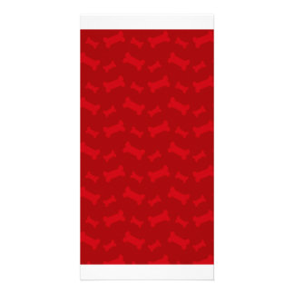 Cute red dog bones pattern photo cards