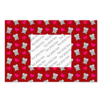 Cute red elephant hearts pattern photograph