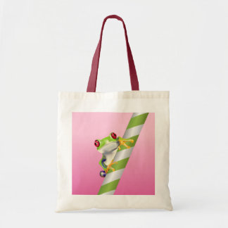 Cute Red Eye Tree Frog on Straw Tote Bag