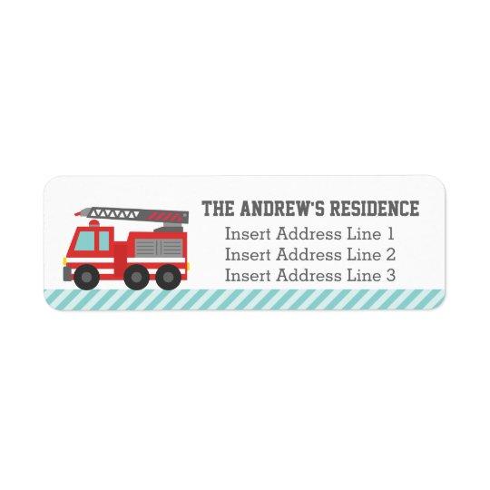 Cute Red Fire Truck Blue Stripes Return Address Label