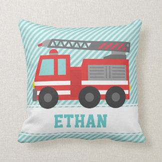 Cute Red Fire Truck for Boys Bedroom Throw Cushions