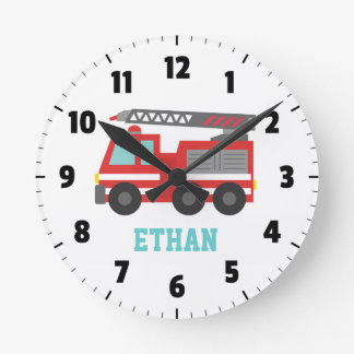 Cute Red Fire Truck for Boys Bedroom Wall Clocks