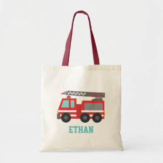 Cute Red Fire Truck for Boys, Name Budget Tote Bag