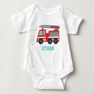 Cute Red Fire Truck for Little Fire fighters Baby Bodysuit