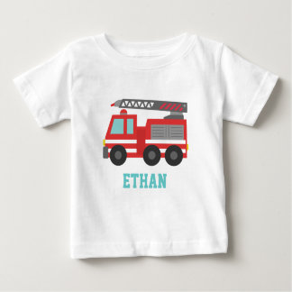 Cute Red Fire Truck for Little Fire fighters Baby T-Shirt