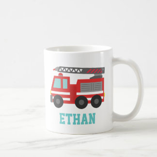 Cute Red Fire Truck for Little Fire fighters Basic White Mug