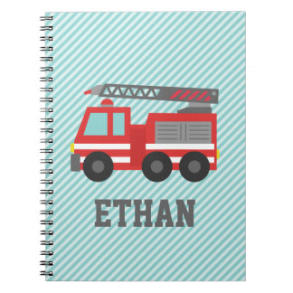 Cute Red Fire Truck for Little Fire fighters Spiral Note Book