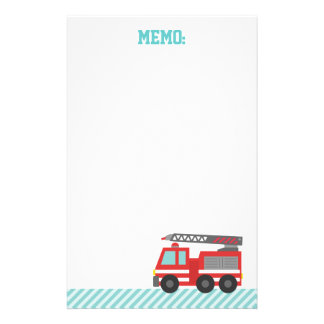 Cute Red Fire Truck for Little Fire fighters Stationery