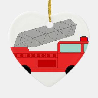 Cute Red Firetruck Ceramic Heart Decoration