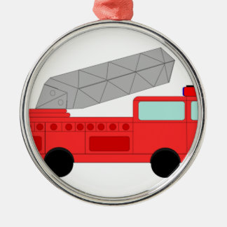 Cute Red Firetruck Silver-Colored Round Decoration