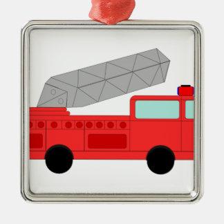 Cute Red Firetruck Silver-Colored Square Decoration