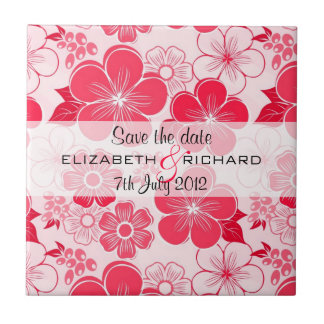 Cute red flowers Save the date Tile
