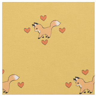 Cute Red Fox and Hearts Fabric