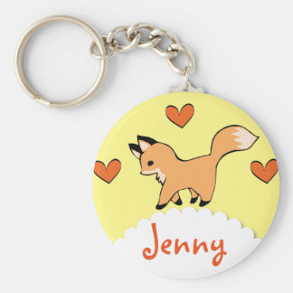 Cute Red Fox and Hearts Key Ring