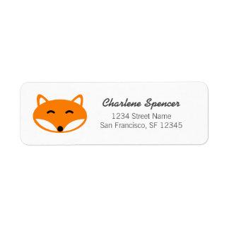 Cute red fox baby shower return address labels