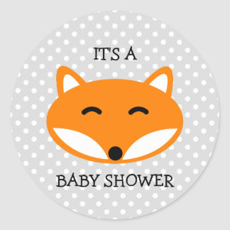 Cute red fox baby shower stickers with polka dots
