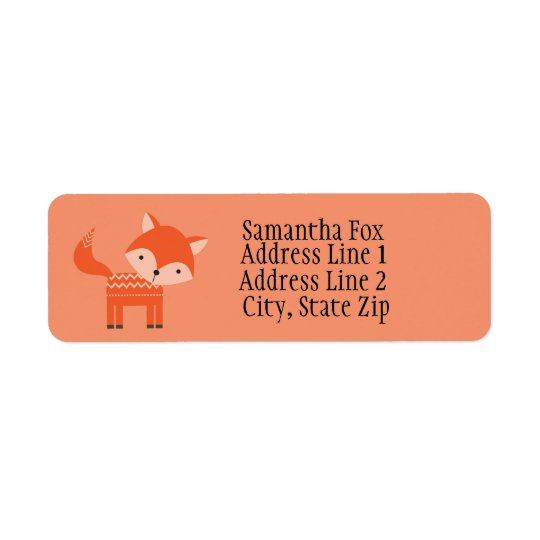 Cute Red Fox Custom Return Address Labels