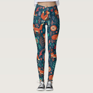 Cute Red Foxes And Flowers Pattern Leggings