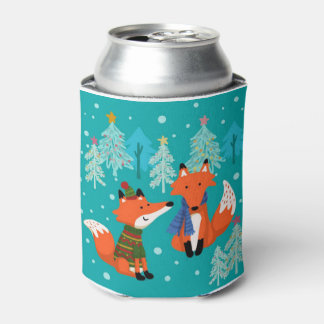 Cute Red Foxes, Christmas, Custom Can Cooler