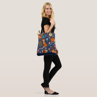 Cute Red Foxes & Flowers Seamless Pattern Tote Bag
