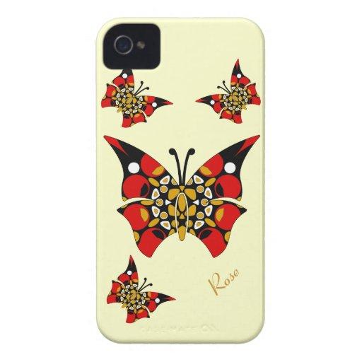 Cute Red Gold Black Butterflies Blackberry Bold Case-Mate Blackberry Case