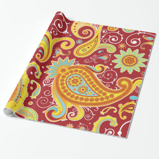 Cute Red Gold Vintage Paisley Floral Pattern Wrapping Paper