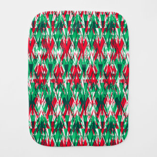 Cute red green abstract aztec pattern burp cloth