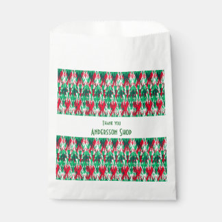 Cute red green abstract aztec pattern favour bag