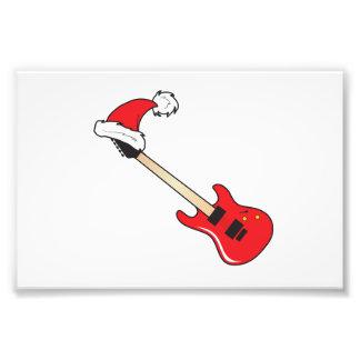 Cute Red Guitar Santa Hat Mouse Pad Clock Pillows Photo