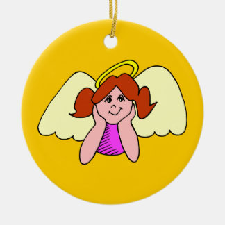 Cute Red Hair Girl Christmas Angel Ceramic Ornament