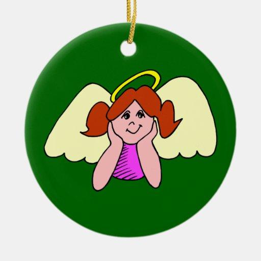 Cute Red Hair Girl Christmas Angel Ornament