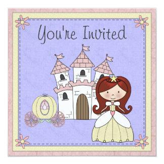 "Cute Red Hair Princess Fairy Tale Birthday Invite 5.25"" Square Invitation Card"