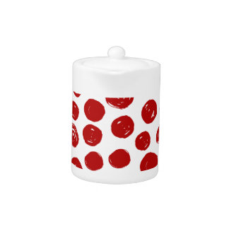 Cute Red hand drawn watercolor polka dots