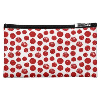 Cute Red hand drawn watercolor polka dots Makeup Bag