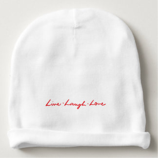 Cute Red Hand Lettered Live Laugh Love Baby Beanie