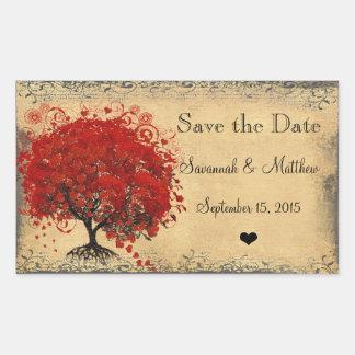 Cute Red Heart Leaf Tree Weddings Stickers