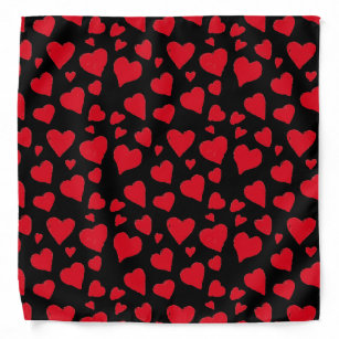 Cute Red Hearts Pattern Art Black Bandana