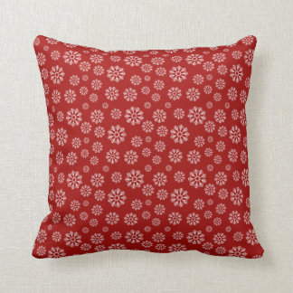 Cute Red Holiday Snowflakes Pattern Winter Cushion