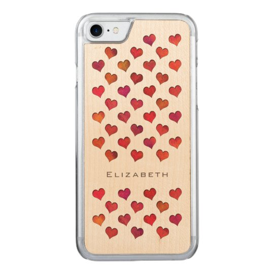 cute red hot hearts pattern carved iPhone 8/7 case