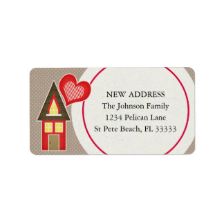 Cute Red House Scrapbooking Style New Address Label