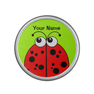 Cute Red Ladybug on Green Personalized Bluetooth Speaker