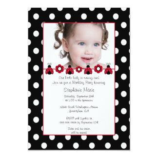 "Cute red ladybug photo birthday party invitation 5"" x 7"" invitation card"
