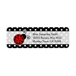 Cute Red Ladybug Polka Dot Return Address Labels