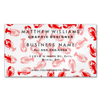 Cute Red Lobster Animal Pattern Magnetic Business Cards