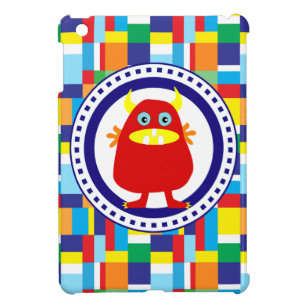 Cute Red Monster on Colourful Patchwork Blocks iPad Mini Case