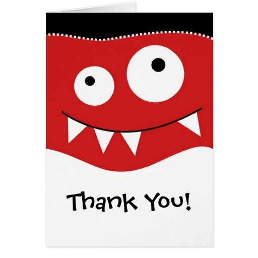 Cute Red MonsterThank You Note Card